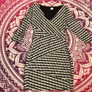 Striped Venus Three Quarter Sleeve Dress